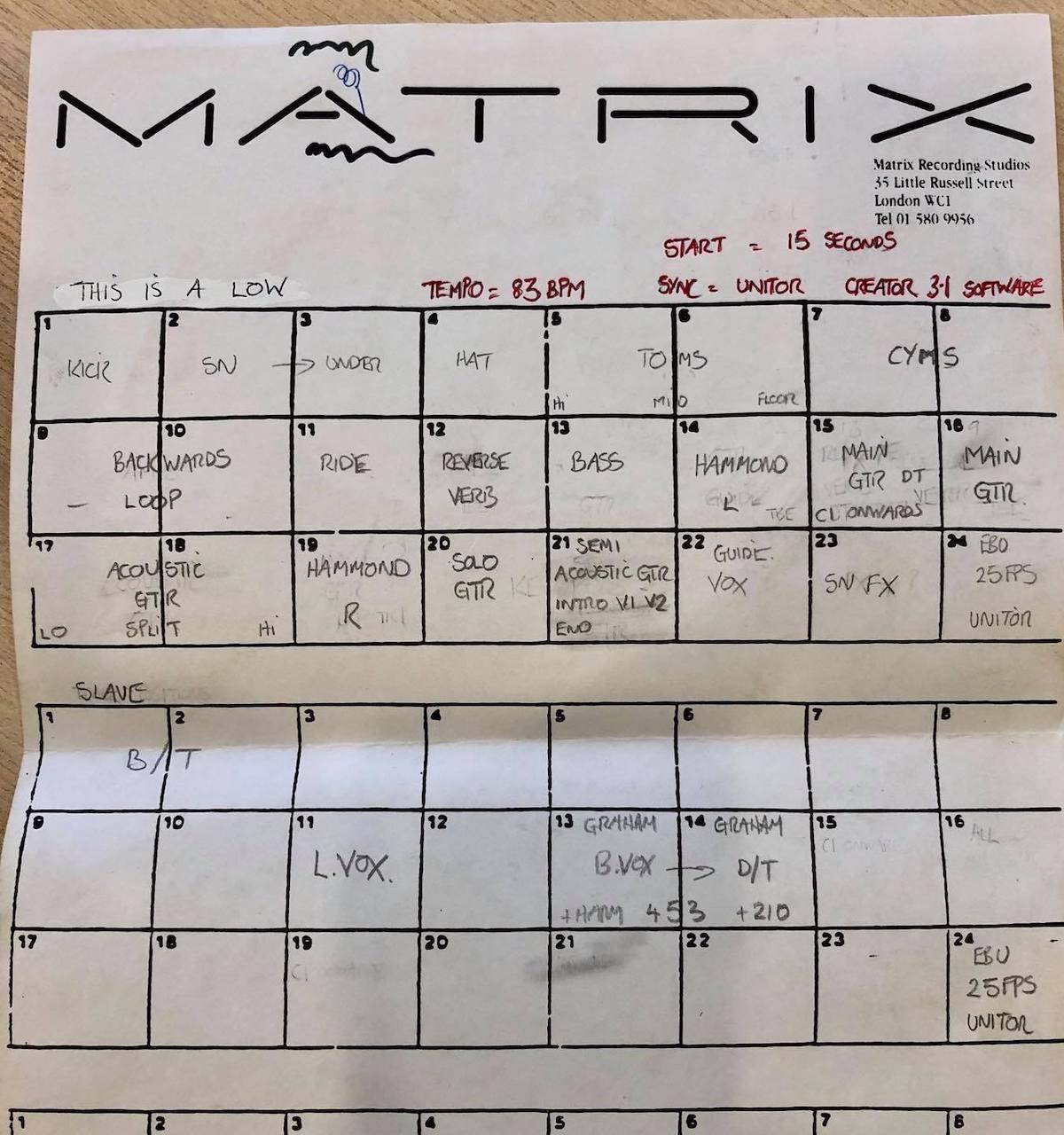 This Is A Low Blur Track Sheet Matrix Studios London